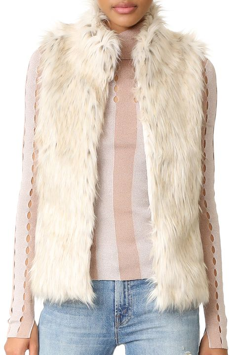 bb dakota brewer faux fur vest off white