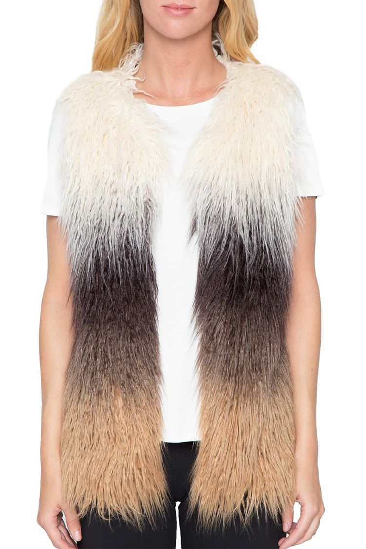 willow and clay ombre faux fur vest black tan white