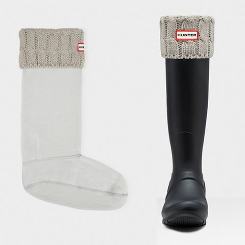 "<p><strong data-redactor-tag=""strong"" data-verified=""redactor""><em data-redactor-tag=""em"" data-verified=""redactor"">Hunter Cable-Knit Boot Socks, $50</em></strong> <a href=""http://us.hunterboots.com/socks/original-six-stitch-cable-boot-socks/grey/1565"" target=""_blank"" class=""slide-buy--button"" data-tracking-id=""recirc-text-link"">BUY NOW</a></p>  <p>These are a less intense option in terms of insulation, since they're made with fleece instead of down. Simply put them on over your socks and slide your feet into the boots, rolling the cable knit band over the boots themselves. You can choose from a variety of colors, styles, and even heights <a href=""http://us.hunterboots.com/womens-accessories-socks/"" target=""_blank"" data-tracking-id=""recirc-text-link"">here</a>. The basic fleece options are just <a href=""http://us.hunterboots.com/socks/boot-socks/white/412"" target=""_blank"" data-tracking-id=""recirc-text-link"">$30</a>, and can be worn folded over the boot or just propped up to look like socks.</p>"