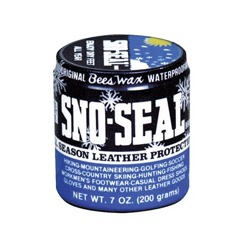 "<p><strong data-redactor-tag=""strong"" data-verified=""redactor""><em data-redactor-tag=""em"" data-verified=""redactor"">Sno-Seal, from $3</em></strong> <a href=""https://www.amazon.com/Atsko-Sno-Seal-Original-Waterproofing-Protector/dp/B00O9OA01W?tag=bp_links-20"" target=""_blank"" class=""slide-buy--button"" data-tracking-id=""recirc-text-link"">BUY NOW</a></p>  <p>Beeswax is the best base for a leather waterproofer because it will not go rancid or stain your shoes. It conditions the leather and creates a barrier so you can walk confidently in slushy snow. It will darken the shade of brown leather a bit, creating a much more saturated and rich color, but it won't impact black leather much except to make it look newer and less faded. We recommend purchasing the 4-ounce jar because it comes with an applicator. </p>"