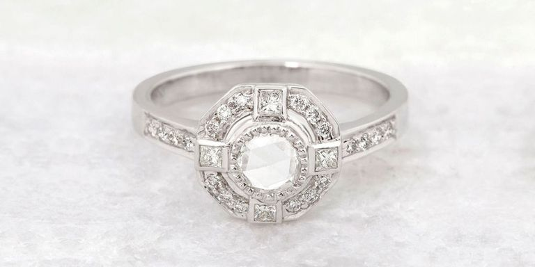 vintage deco and design platinum diamond engagement ring asymmetrical art antique rings jewellery