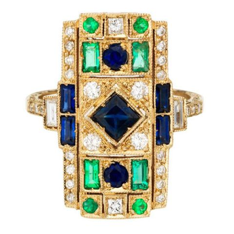 sabine getty harlequin sapphire and emerald rectangle ring