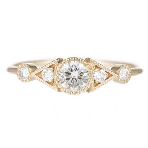 jennie kwon diamond duo deco spear gold ring