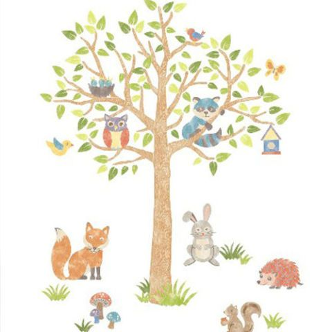 Sweet Woodland Tree Decal for Nursery