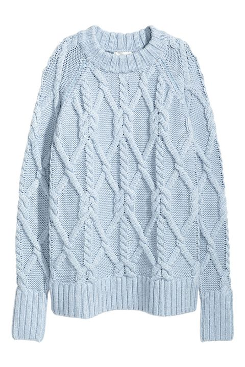 h&m cable knit long sweater in powder blue