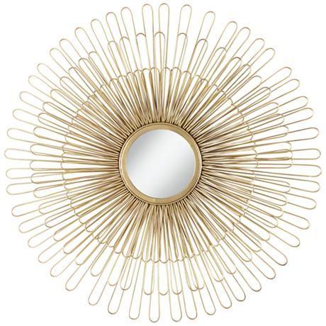 """Cibola Gold 32"""" Round Sunburst Wall Mirror"""