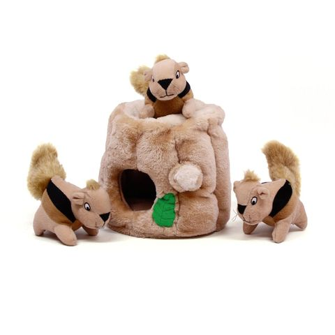 Squirrel hut dog toy