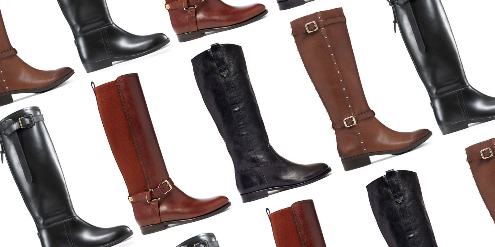 Brown and Black Riding Boots for Women