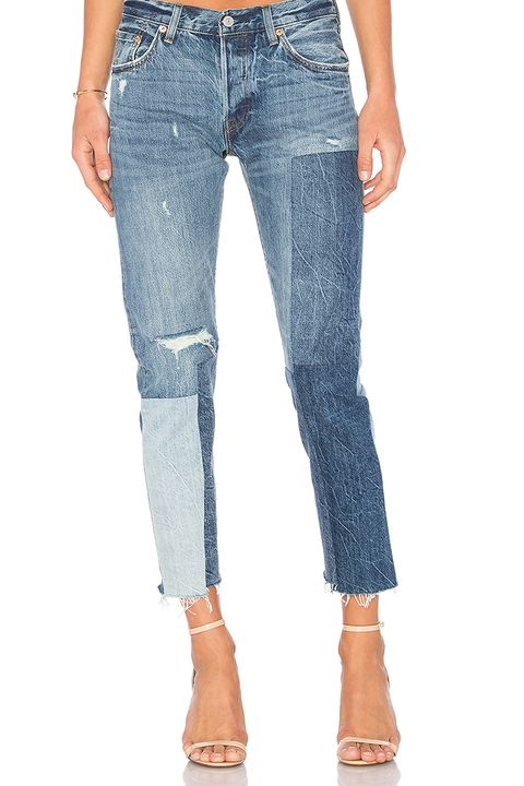 levis 501 ragged wash mixed blue jeans