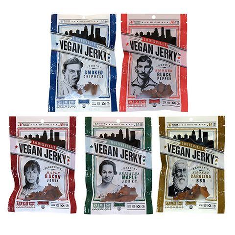 "<p><strong data-redactor-tag=""strong"" data-verified=""redactor""><em data-redactor-tag=""em"" data-verified=""redactor"">5-pack for $36</em></strong> <a href=""https://www.amazon.com/Louisville-Vegan-Jerky-Variety-Pack/dp/B01N8SLC7N/?tag=bp_links-20"" target=""_blank"" class=""slide-buy--button"" data-tracking-id=""recirc-text-link"">BUY NOW</a></p><p>Louisville Vegan Jerky is best known for its creative flavors like Smoked Chipotle, Sriracha Maple, and&nbsp;Smokey Carolina&nbsp;BBQ. Each batch is made from non-GMO soy and is totally gluten free, yet somehow manages to get that a deliciously chewy, somewhat springy texture just right. We suggest trying out a variety pack to figure out which flavor is your favorite, but if you ask this lifelong jerky lover, the Smoked Black Pepper is particularly amazing.&nbsp;</p><p><strong data-redactor-tag=""strong"" data-verified=""redactor"">More:</strong> <a href=""http://www.bestproducts.com/buzzing-news/news/a662/ben-and-jerrys-new-vegan-ice-cream-flavours/"" target=""_blank"" data-tracking-id=""recirc-text-link"">Ben &amp;&nbsp;Jerry's Just Launched 2 New Vegan Ice Cream Flavors</a></p>"
