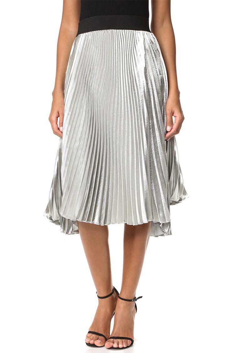 8943655ced Topshop Metallic Jersey Pleated Skirt
