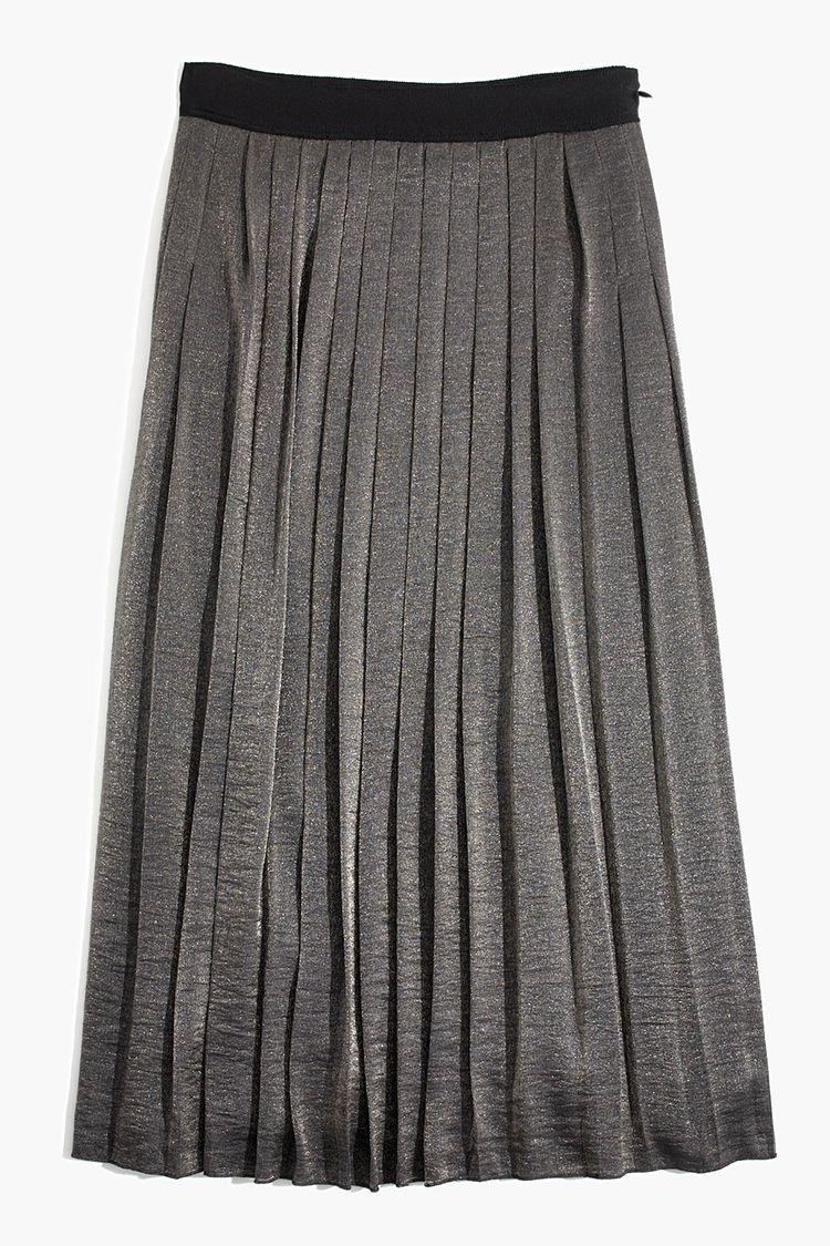 madewell shimmer midi skirt in silver