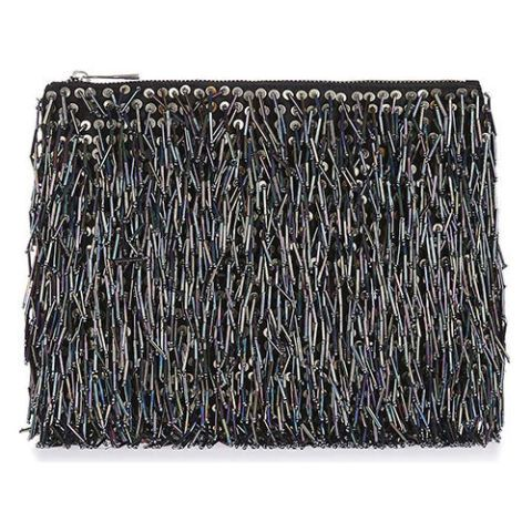 topshop beaded fringe clutch bag in black