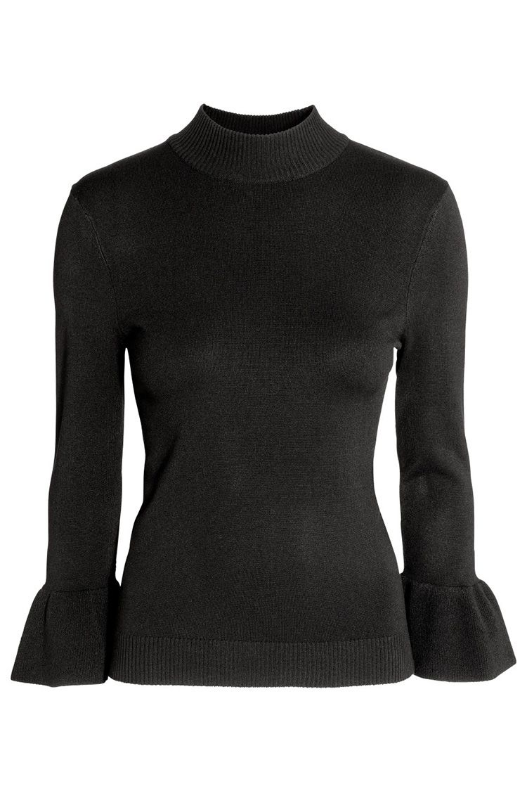 h&m flared sleeve black sweater