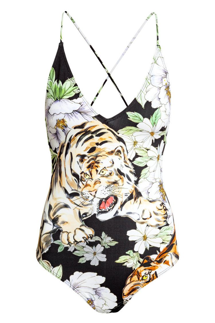 h&m one piece swimsuit with tiger print