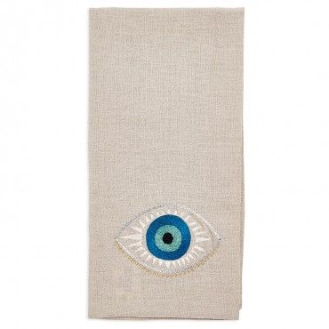 Coral & Tusk Evil Eye Linen Tea Towel