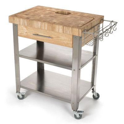 Chris & Chris Pro Stadium Kitchen Cart with Butcher Block Top