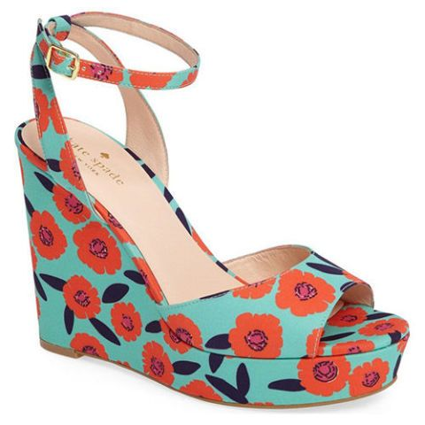 kate spade dellie floral mint wedge sandals