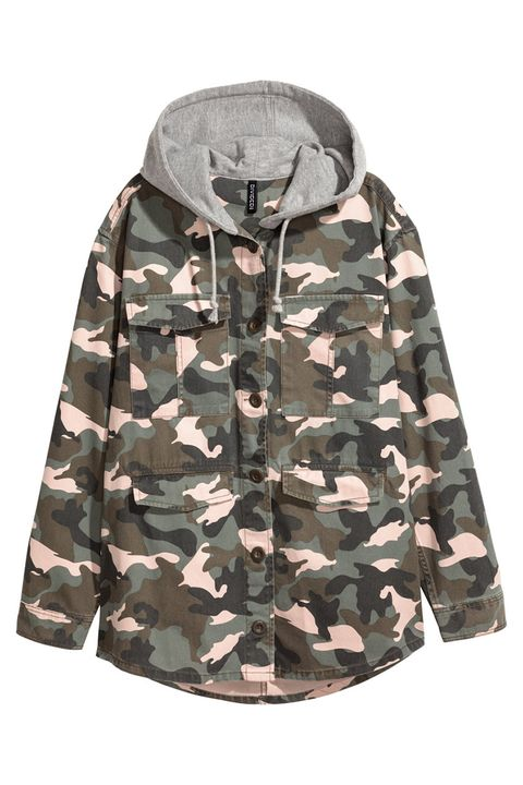 h&m camo hooded jacket