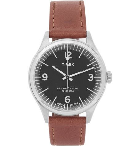 Timex Waterbury Stainless Steel And Leather Watch