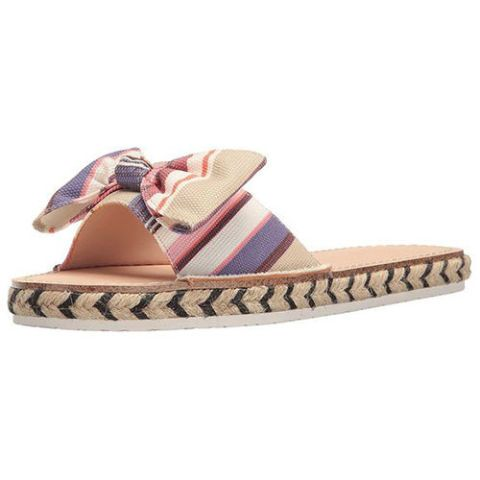 kate spade idalah striped bow slides pink and purple