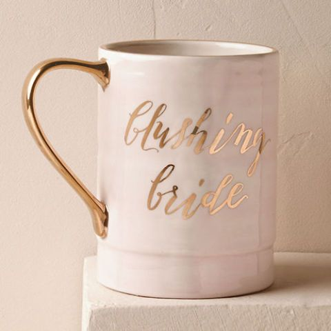 anthropologie blushing bride pink coffee mug
