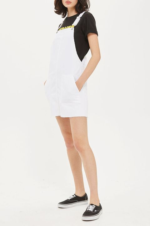 topshop white denim pinafore dress