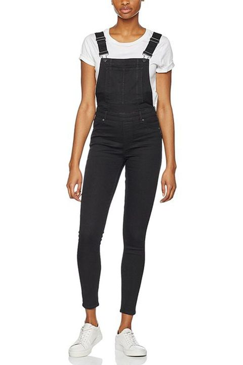 cheap monday skinny black overalls