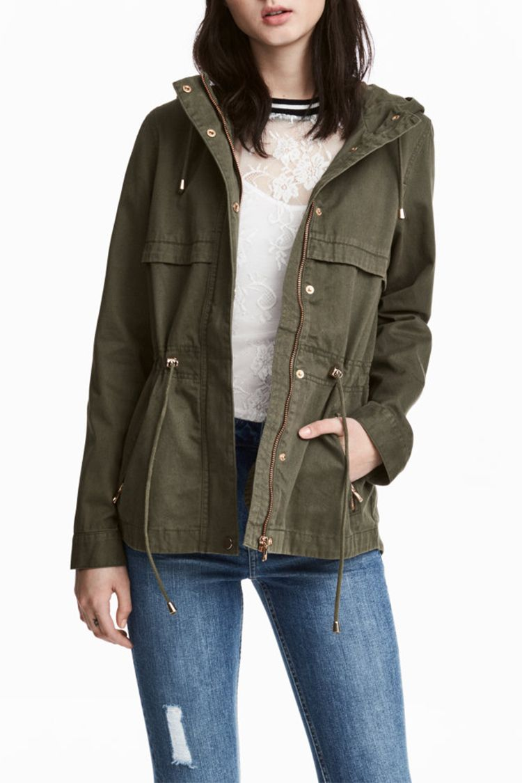 h&m short hooded parka in khaki green