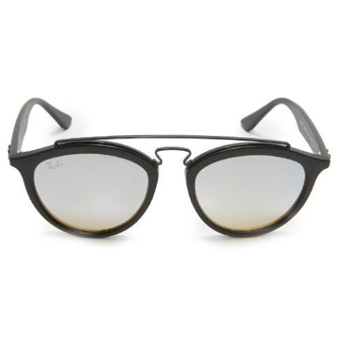 ray ban round aviator black and silver sunglasses