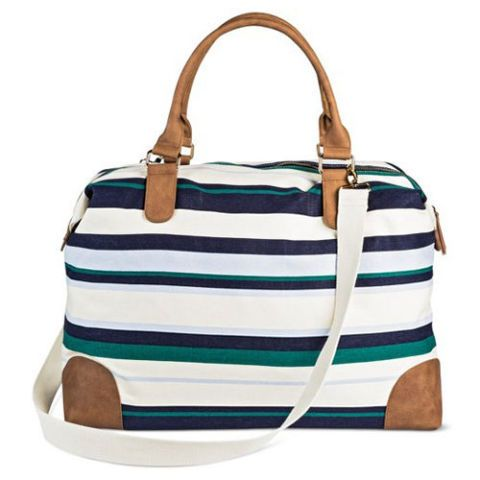 merona striped canvas weekender bag in blue and green