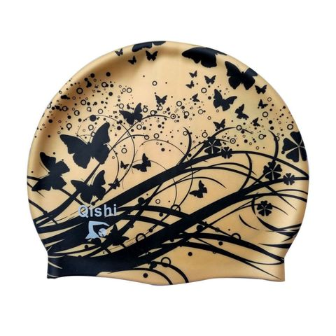 Qishi's Gold Butterfly Printing Silicone Swimming Caps for Women
