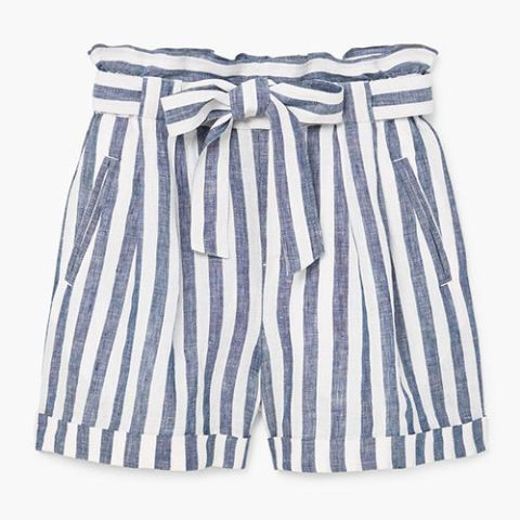mango striped linen high waist shorts in blue and white