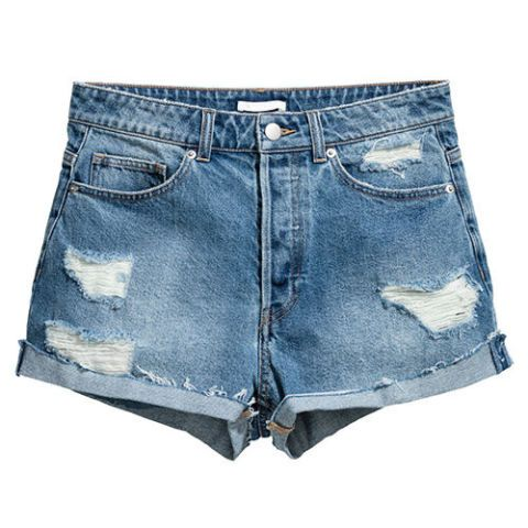 h&m distressed denim high waist shorts