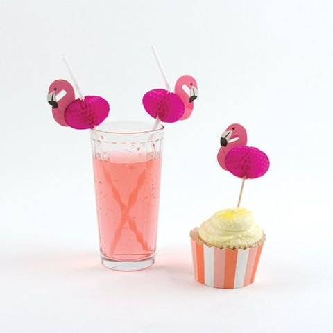 Party Partners Design Pink Flamingo Decorative Cocktail Drinking Straws