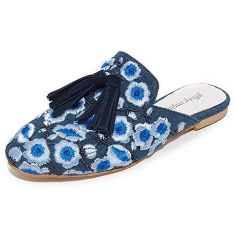 jeffrey campbell embroidered blue denim mules