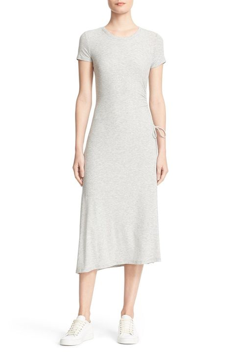 theory jilaena asymmetric t-shirt midi gray dress