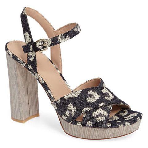 pour la victoire leopard denim platform sandals