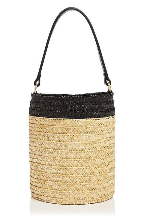 caterina bertini small straw bucket bag in natural and black
