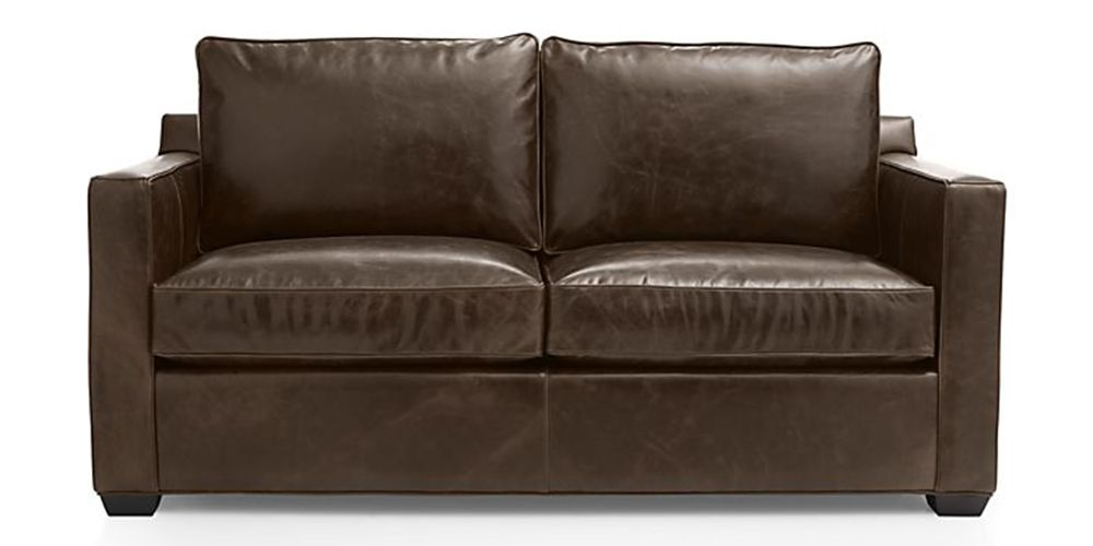Crate U0026 Barrel Davis Leather Full Sleeper Sofa