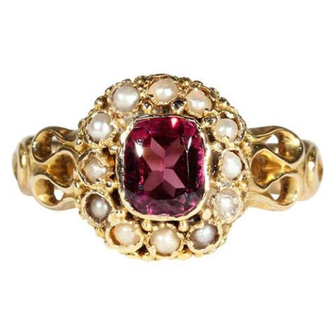 victorian garnet pearl gold ring