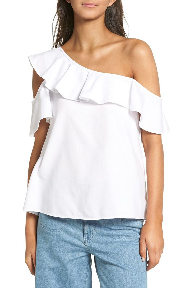 madewell one shoulder white top