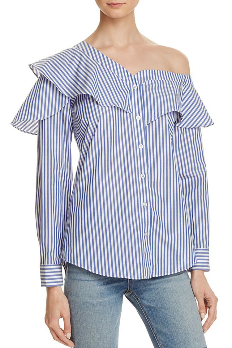 bardot Ruffle and Frill Shirt blue and white stripes