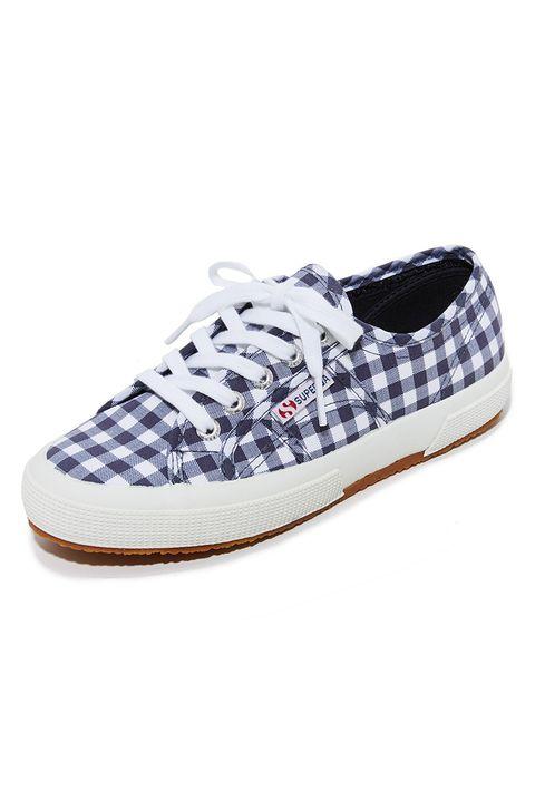 superga 2750 blue gingham sneakers