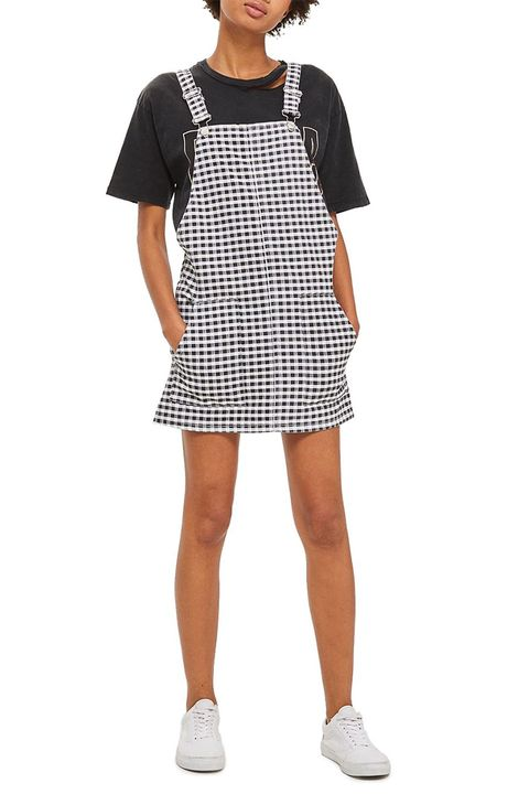 topshop black gingham pinafore dress