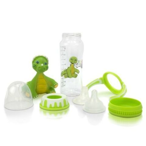 GoGlass Borosilicate Glass Baby Bottle with Cosmo the Dino Baby Teether