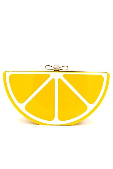lemon slice clutch bag