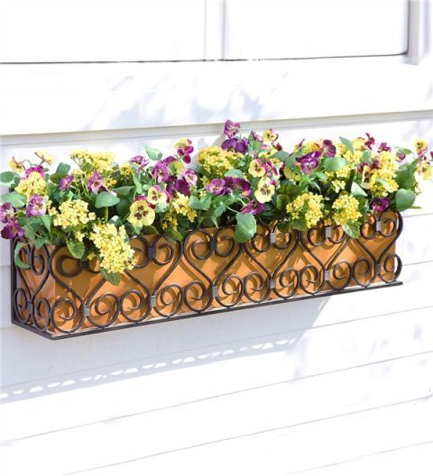 Plow & Hearth Decorative Iron Scroll Window Box