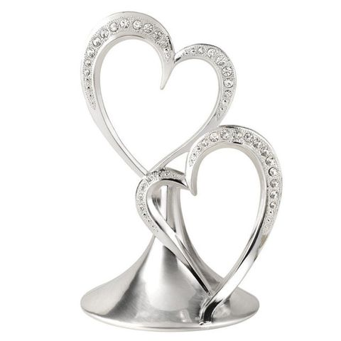 Hortense B. Hewitt Double Heart Silver-Plated Cake Top
