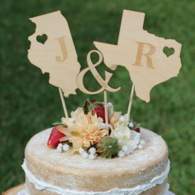10 best wedding cake toppers for 2018 romantic wedding toppers wedding pros rustic wooden states wedding cake topper junglespirit Choice Image